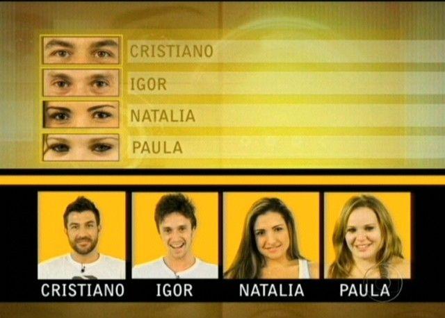 Cristiano, Igor, Natalia e Paula são do Grupo Laranja no BBB 11 (11/01/11)